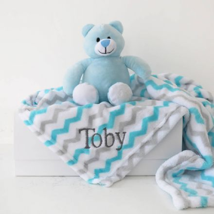 Personalised Baby Blanket And Blue Bear Gift Set